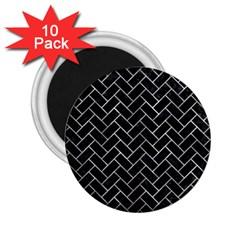 Brick2 Black Marble & Gray Metal 2 2 25  Magnets (10 Pack)  by trendistuff