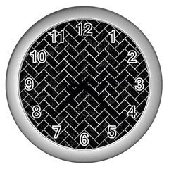 Brick2 Black Marble & Gray Metal 2 Wall Clocks (silver)  by trendistuff