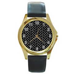 Brick2 Black Marble & Gray Metal 2 Round Gold Metal Watch by trendistuff