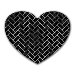 Brick2 Black Marble & Gray Metal 2 Heart Mousepads by trendistuff