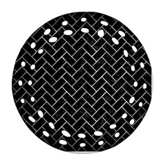 Brick2 Black Marble & Gray Metal 2 Ornament (round Filigree) by trendistuff