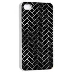 Brick2 Black Marble & Gray Metal 2 Apple Iphone 4/4s Seamless Case (white) by trendistuff