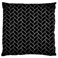 Brick2 Black Marble & Gray Metal 2 Standard Flano Cushion Case (one Side) by trendistuff