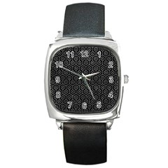Hexagon1 Black Marble & Gray Leather Square Metal Watch by trendistuff