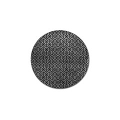 Hexagon1 Black Marble & Gray Leather (r) Golf Ball Marker (4 Pack) by trendistuff