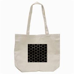 Hexagon2 Black Marble & Gray Leather Tote Bag (cream) by trendistuff