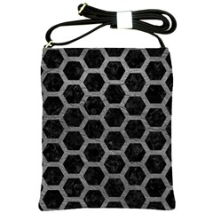 Hexagon2 Black Marble & Gray Leather Shoulder Sling Bags by trendistuff