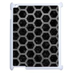 Hexagon2 Black Marble & Gray Leather Apple Ipad 2 Case (white) by trendistuff