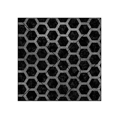 Hexagon2 Black Marble & Gray Leather Acrylic Tangram Puzzle (4  X 4 ) by trendistuff