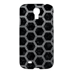 Hexagon2 Black Marble & Gray Leather Samsung Galaxy S4 I9500/i9505 Hardshell Case by trendistuff