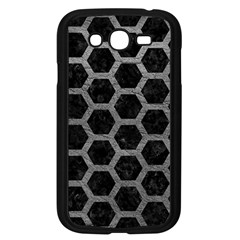 Hexagon2 Black Marble & Gray Leather Samsung Galaxy Grand Duos I9082 Case (black) by trendistuff