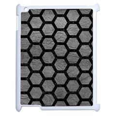 Hexagon2 Black Marble & Gray Leather (r) Apple Ipad 2 Case (white)
