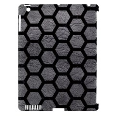 Hexagon2 Black Marble & Gray Leather (r) Apple Ipad 3/4 Hardshell Case (compatible With Smart Cover) by trendistuff