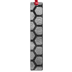 Hexagon2 Black Marble & Gray Leather (r) Large Book Marks by trendistuff