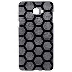 Hexagon2 Black Marble & Gray Leather (r) Samsung C9 Pro Hardshell Case  by trendistuff