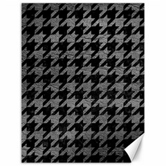 Houndstooth1 Black Marble & Gray Leather Canvas 12  X 16   by trendistuff