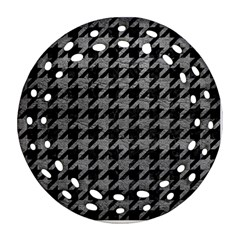 Houndstooth1 Black Marble & Gray Leather Ornament (round Filigree) by trendistuff