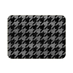 Houndstooth1 Black Marble & Gray Leather Double Sided Flano Blanket (mini)  by trendistuff