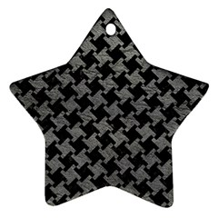 Houndstooth2 Black Marble & Gray Leather Star Ornament (two Sides) by trendistuff
