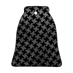 Houndstooth2 Black Marble & Gray Leather Ornament (bell) by trendistuff