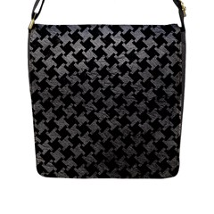 Houndstooth2 Black Marble & Gray Leather Flap Messenger Bag (l)  by trendistuff