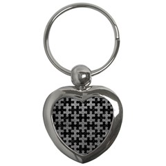 Puzzle1 Black Marble & Gray Leather Key Chains (heart)  by trendistuff