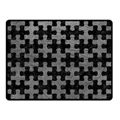 Puzzle1 Black Marble & Gray Leather Double Sided Fleece Blanket (small)  by trendistuff