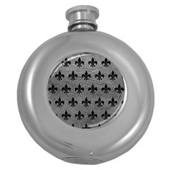 Royal1 Black Marble & Gray Leather Round Hip Flask (5 Oz) by trendistuff