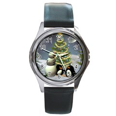 Funny Snowman With Penguin And Christmas Tree Round Metal Watch by FantasyWorld7