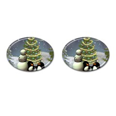 Funny Snowman With Penguin And Christmas Tree Cufflinks (oval) by FantasyWorld7
