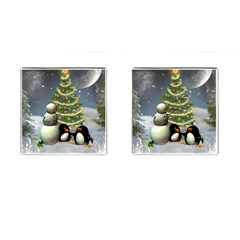 Funny Snowman With Penguin And Christmas Tree Cufflinks (square) by FantasyWorld7