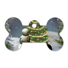 Funny Snowman With Penguin And Christmas Tree Dog Tag Bone (two Sides) by FantasyWorld7