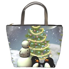 Funny Snowman With Penguin And Christmas Tree Bucket Bags by FantasyWorld7