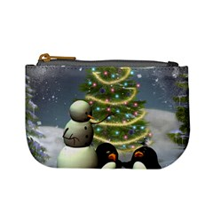 Funny Snowman With Penguin And Christmas Tree Mini Coin Purses by FantasyWorld7