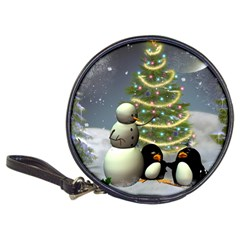 Funny Snowman With Penguin And Christmas Tree Classic 20 Cd Wallets