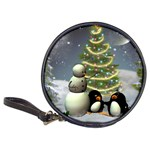Funny Snowman With Penguin And Christmas Tree Classic 20-CD Wallets Front