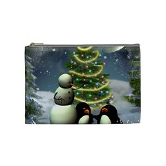 Funny Snowman With Penguin And Christmas Tree Cosmetic Bag (medium)  by FantasyWorld7