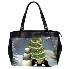 Funny Snowman With Penguin And Christmas Tree Office Handbags (2 Sides)  by FantasyWorld7