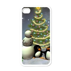 Funny Snowman With Penguin And Christmas Tree Apple Iphone 4 Case (white) by FantasyWorld7
