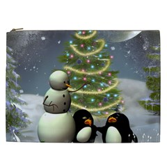 Funny Snowman With Penguin And Christmas Tree Cosmetic Bag (xxl)  by FantasyWorld7