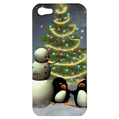 Funny Snowman With Penguin And Christmas Tree Apple Iphone 5 Hardshell Case by FantasyWorld7