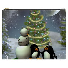 Funny Snowman With Penguin And Christmas Tree Cosmetic Bag (xxxl)  by FantasyWorld7