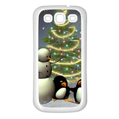 Funny Snowman With Penguin And Christmas Tree Samsung Galaxy S3 Back Case (white)