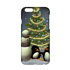 Funny Snowman With Penguin And Christmas Tree Apple Iphone 6/6s Hardshell Case by FantasyWorld7