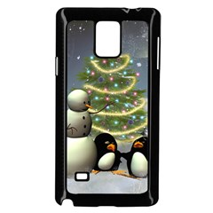 Funny Snowman With Penguin And Christmas Tree Samsung Galaxy Note 4 Case (black) by FantasyWorld7