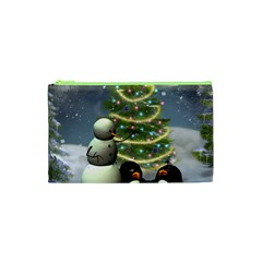 Funny Snowman With Penguin And Christmas Tree Cosmetic Bag (xs) by FantasyWorld7