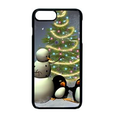 Funny Snowman With Penguin And Christmas Tree Apple Iphone 7 Plus Seamless Case (black) by FantasyWorld7