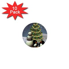 Funny Snowman With Penguin And Christmas Tree 1  Mini Buttons (10 Pack)  by FantasyWorld7