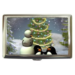Funny Snowman With Penguin And Christmas Tree Cigarette Money Cases by FantasyWorld7