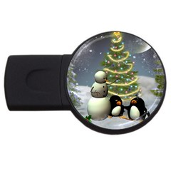 Funny Snowman With Penguin And Christmas Tree Usb Flash Drive Round (2 Gb) by FantasyWorld7